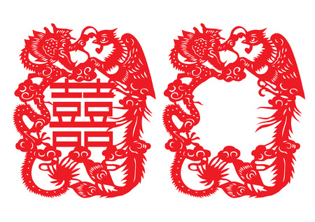 Silhouette of Dragon and Phoenix. Oriental style of paper cutting.