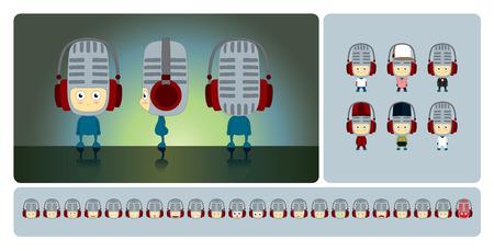piss: Character design basato sul microfono. Disponibile in diversi costumi ed espressioni. Vettoriali