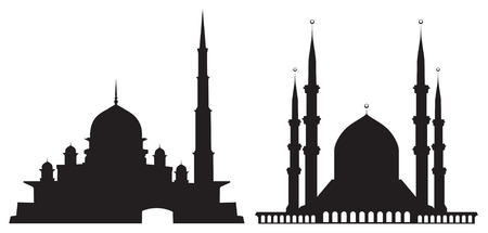 minarets: Silhouettes of mosques isolated on white background Illustration