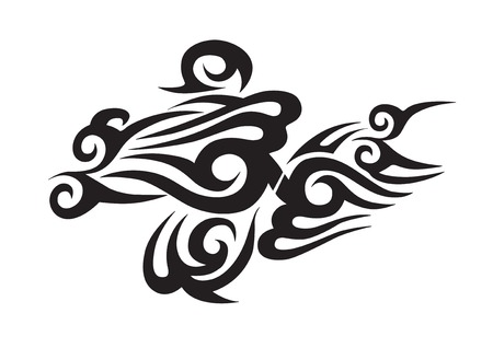 accent abstract: Tribal tattoo isolated on white background Illustration