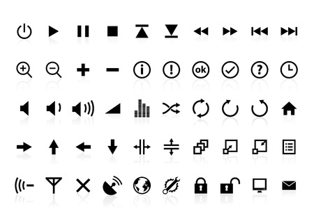 Assorted icons for multimedia interface.