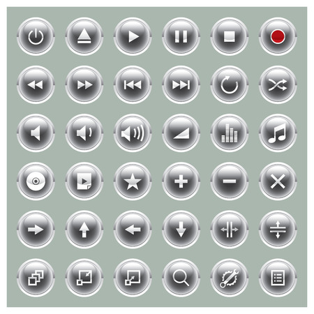 Glossee orb series - player button set Vector