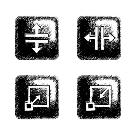 Freestyle hand-drawn icons for multimedia interface. Vector