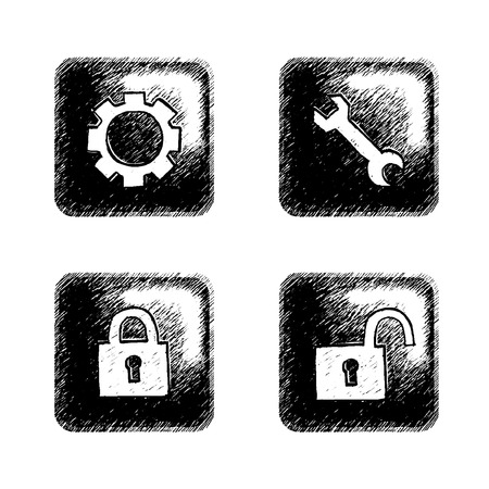 preferencia: Libre iconos dibujados a mano para interfaz multimedia. Vectores