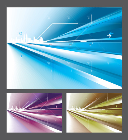 Abstract digital arts in 3 colors options. Illustration