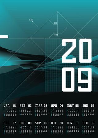 Calendar 2009 - 12 months Illustration