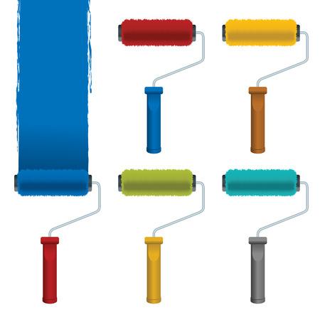 roller brush: Rodillo de cepillos con trazos de pintura