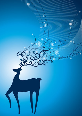 Snow Deer, celebratory element for christmas. Vector