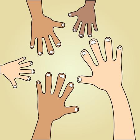 skin tones: Various skin tones of hands