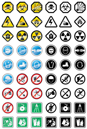 Assorted warning and prohibit signs. Vector