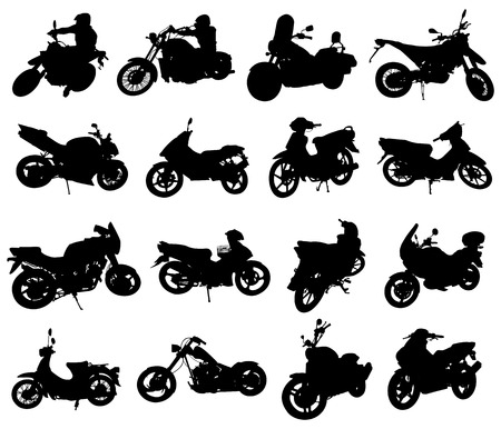 motorbike rider: Motorcycle silhouettes