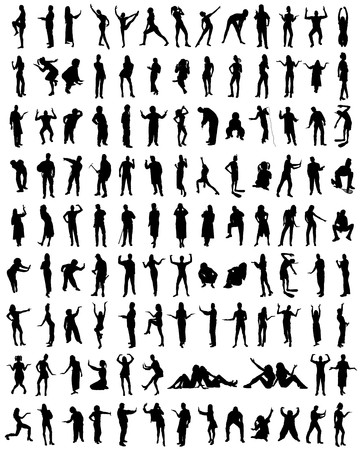 Hundred silhouettes of humans Illustration