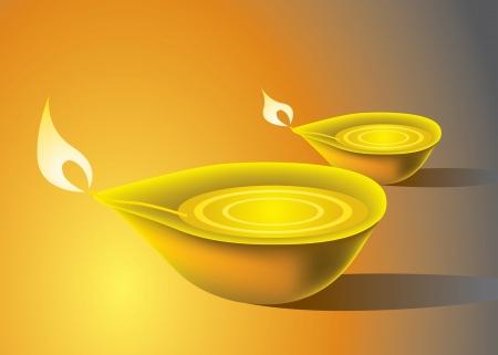 Deepavali Oil Lamp Vector