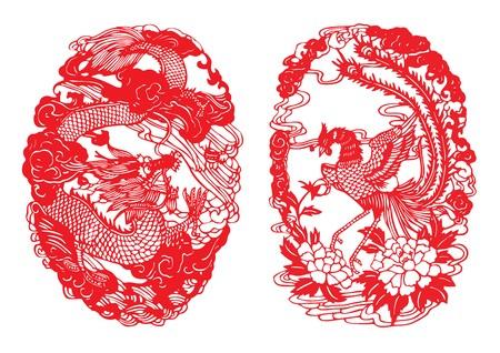 Dragon & Phoenix Paper-cut Illustration