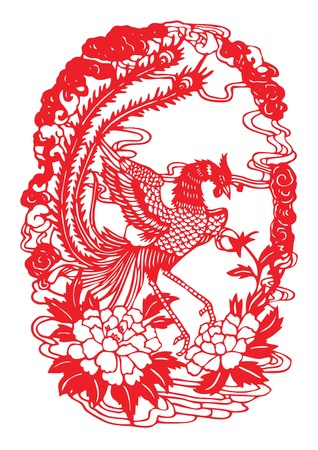 Seamless phoenix paper-cut Vector Illustration