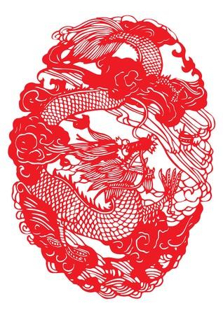 Seamless dragon Paper-cut  Vector