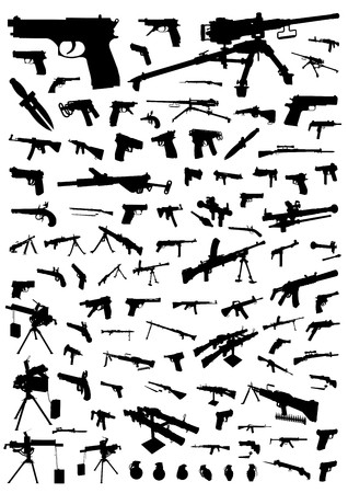 geweer: Honderd silhouetten van wapens geïsoleerd op wit