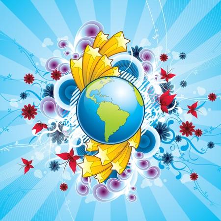 shooting star flower: A wonderful world Illustration