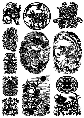monkey silhouette: Oriental Graphics Set