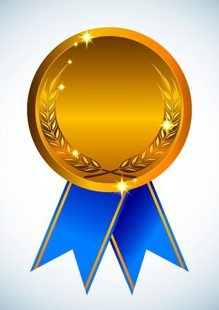 medallion: Gold award ribbon badge Illustration