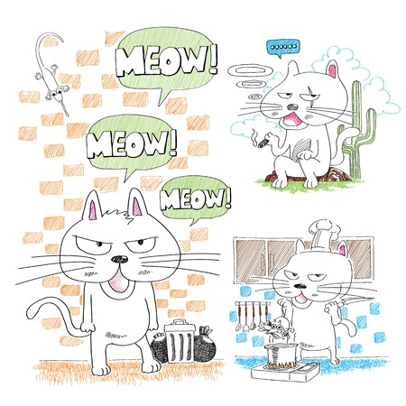 clip art draw: Adorable hand-drawn cat Illustration
