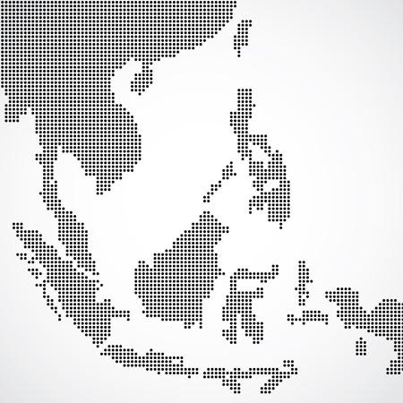 点線東南アジア  イラスト・ベクター素材