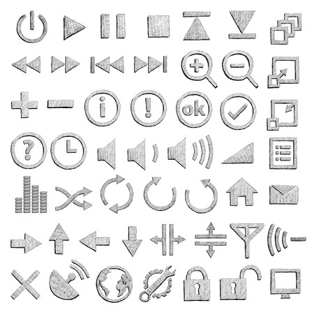 Hand-drawn icons Vector