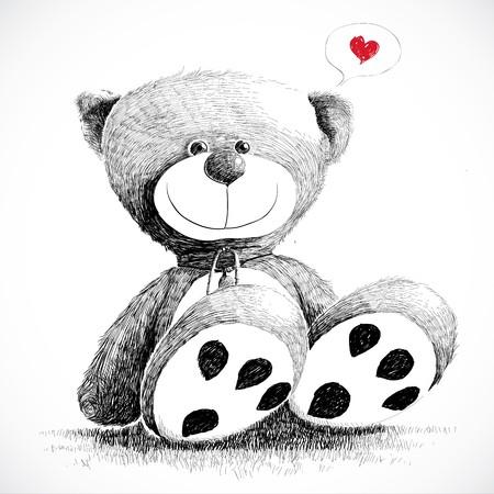 oso de peluche: Dibujado a mano oso de peluche aislado en blanco