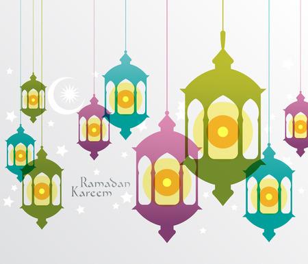 ベクトル イスラム教徒石油ランプ グラフィック翻訳ラマダン カリーム - 寛大さの祝福があります神聖な月の間に  イラスト・ベクター素材
