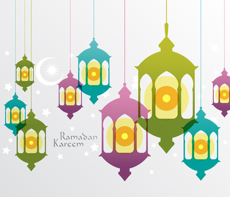 islamic pray: Vector Muslim Oil Lamp Graphics  Translation  Ramadan Kareem - May Generosity Bless You During The Holy Month