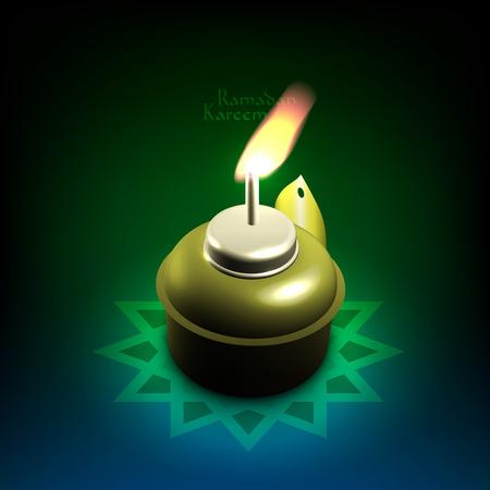 lampada: Lampada a olio vettoriale 3D musulmano traduzione Ramadan Kareem - maggio Generosità benedica voi durante il mese sacro