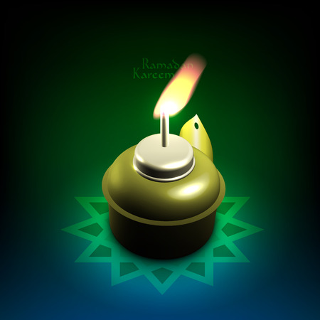 an oil lamp: Vector 3D musulmana Traducción Velón Ramadán Kareem - mayo Generosidad los bendiga durante el mes santo