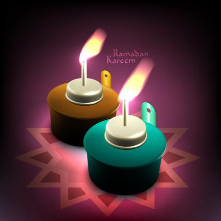 generosit�: Lampada a olio vettoriale 3D musulmano traduzione Ramadan Kareem - maggio Generosit� benedica voi durante il mese sacro