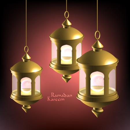 Vector 3D Muslim Oil Lamp  Translation  Ramadan Kareem - May Generosity Bless You During The Holy Month  Vector