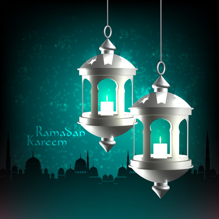 Vector 3D Muslim Oil Lamp  Translation  Ramadan Kareem - May Generosity Bless You During The Holy Month  Vector