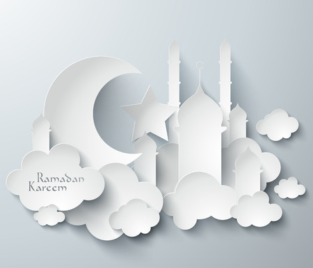 Vector 3D Muslim Paper Graphics  Translation  Ramadan Kareem - May Generosity Bless You During The Holy Month  Illustration