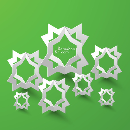 paper sculpture: Vector 3D Muslim Pattern Paper Sculpture  Translation  Ramadan Kareem - May Generosity Bless You During The Holy Month  Illustration