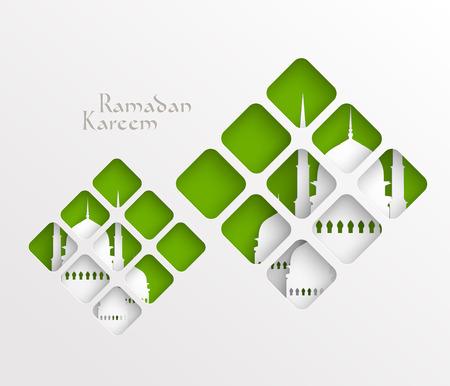 ベクトル 3 D ペーパー グラフィックス翻訳ラマダン カリーム - 寛大さの祝福があります神聖な月の間に  イラスト・ベクター素材