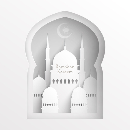islamic pray: Vector 3D Paper Mosque  Translation  Ramadan Kareem - May Generosity Bless You During The Holy Month  Illustration