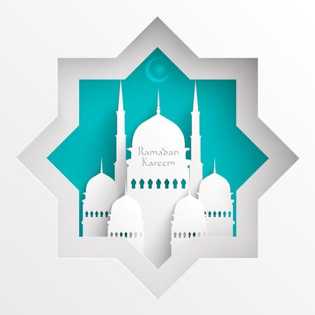 ベクトル 3 D ペーパー モスク翻訳ラマダン カリーム - 寛大さの祝福があります神聖な月の間に