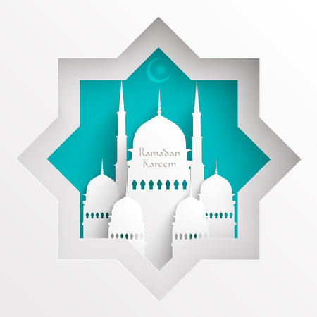 minaret: Vector 3D Paper Mosque  Translation  Ramadan Kareem - May Generosity Bless You During The Holy Month  Illustration