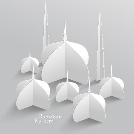 Vector 3D-Moschee Paper Sculpture Übersetzung Ramadan Kareem - Mai Großzügigkeit segnen Sie während des heiligen Monats