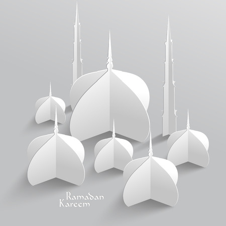 paper sculpture: Vector 3D Mosque Paper Sculpture  Translation  Ramadan Kareem - May Generosity Bless You During The Holy Month  Illustration