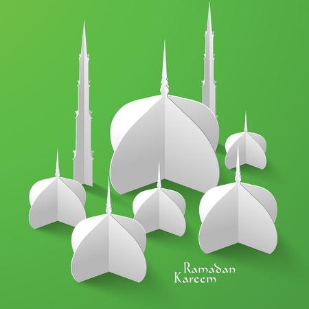 Vector 3D Mosque Paper Sculpture  Translation  Ramadan Kareem - May Generosity Bless You During The Holy Month  Vector