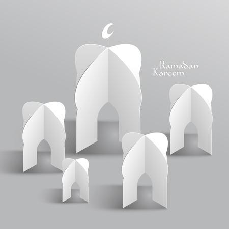 generosit�: Vector 3D Paper Sculpture Moschea traduzione Ramadan Kareem - maggio Generosit� benedica voi durante il mese sacro