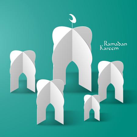 kutlamalar: Vektör 3D Camii Kağıt Heykel Tercüme Ramazan Kareem - Mayıs Cömertlik Ramazan Ayı süresince Bless You