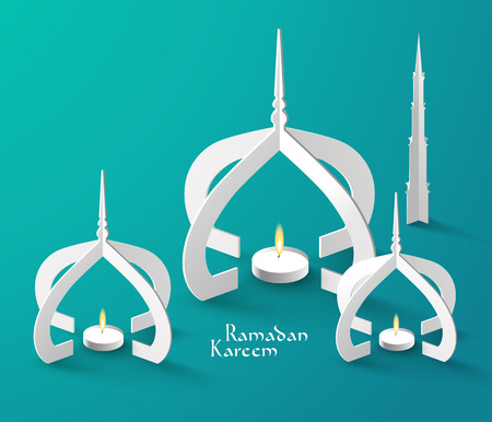 ベクトル 3 D イスラム教徒紙彫刻石油ランプ翻訳ラマダン カリーム - 寛大さの祝福があります神聖な月の間に