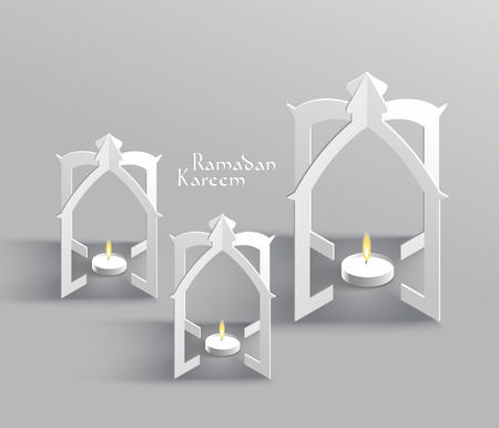 Vector 3D Muslim Paper Sculpture Oil Lamp Translation  Ramadan Kareem - May Generosity Bless You During The Holy Month  Vector