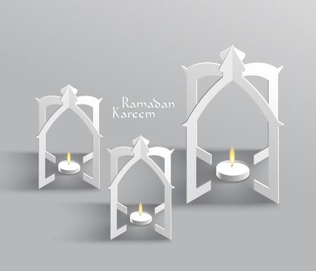 Vector 3D muslimischen Paper Sculpture Öllampe Übersetzung Ramadan Kareem - Mai Großzügigkeit segnen Sie während des heiligen Monats Illustration