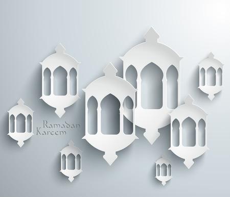 candil: Vector de papel 3D Pelita musulmana Traducción Velón Ramadán Kareem - mayo Generosidad los bendiga durante el mes santo Vectores